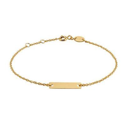 Armband Gravur Plättchen Silber Gelbvergoldet 15x4mm