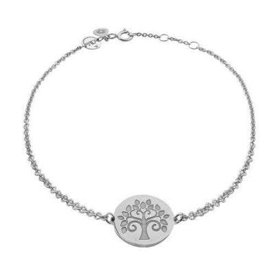 Armband Lebensbaum Plättchen Silber Rhodiniert