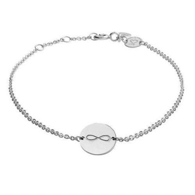 Armband Infinity Platte Silber Rhodiniert