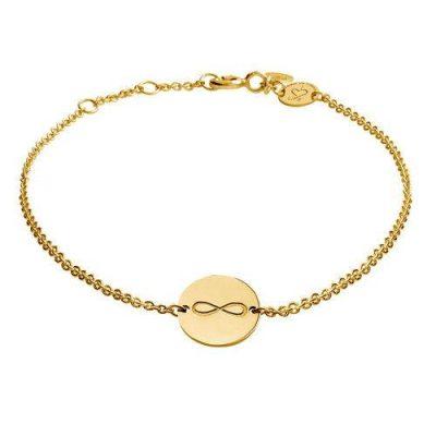 Armband Infinity Platte Silber Gelbvergoldet