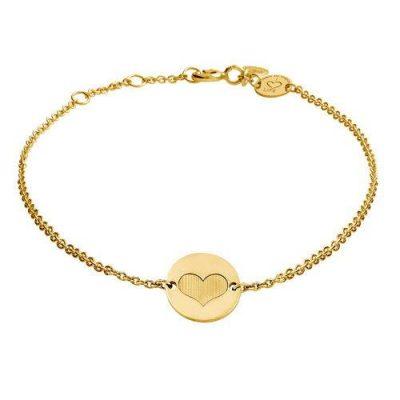 Armband Herz Platte Silber Gelbvergoldet