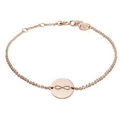 Armband Infinity Platte Silber Rosévergoldet
