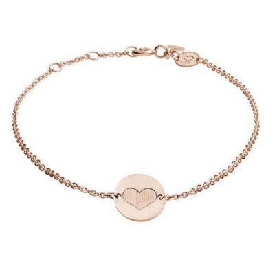 Armband Herz Platte Silber Rosévergoldet