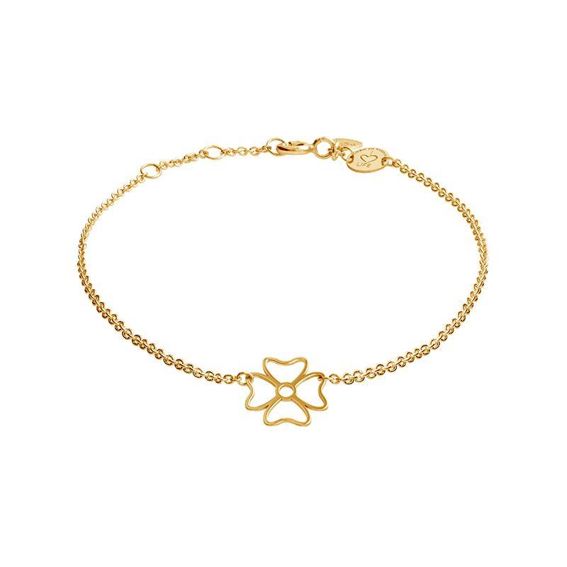 Armband Kleeblatt Gelbvergoldet