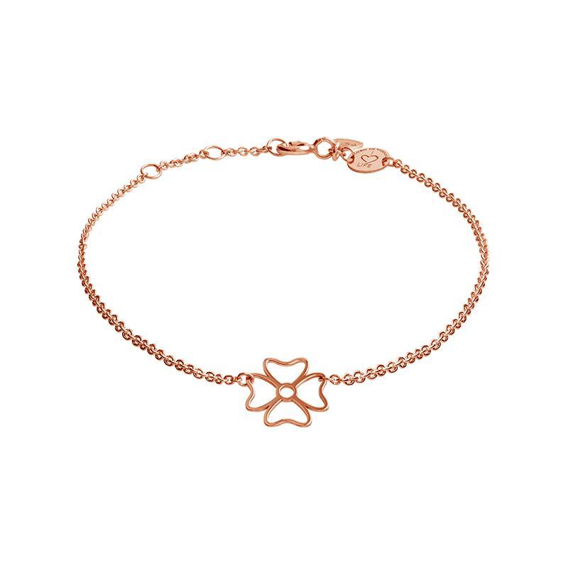 Armband Kleeblatt Rosévergoldet
