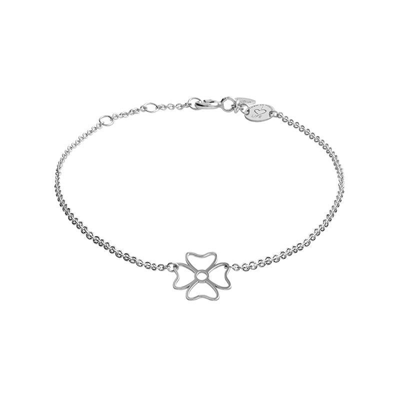 Armband Kleeblatt Silber Rhodiniert