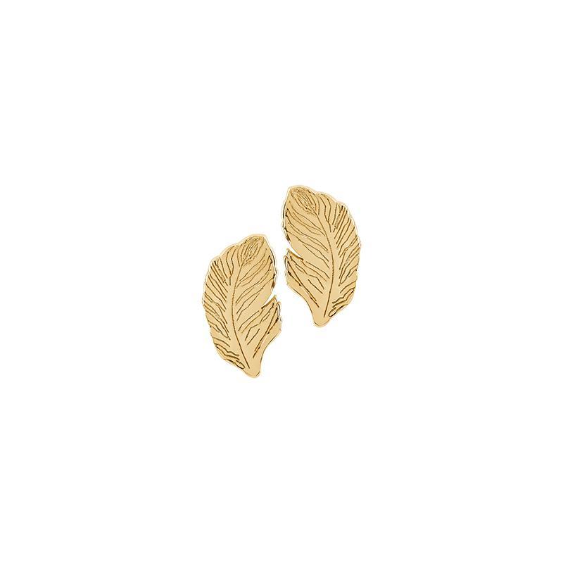 Ohrstecker Feder Silber Gelbvergoldet