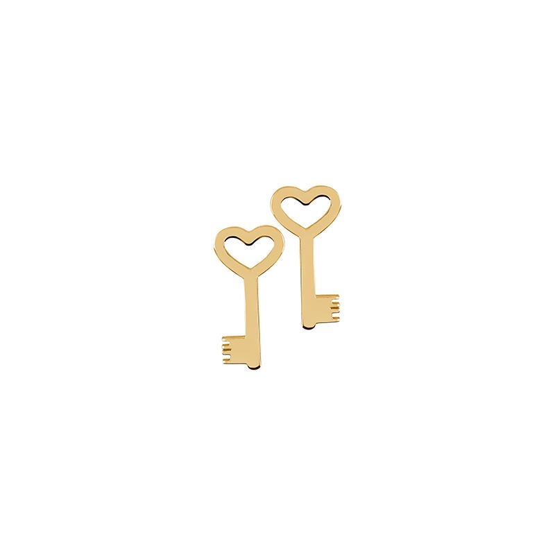 Ohrstecker Schlüssel Silber Gelbvergoldet