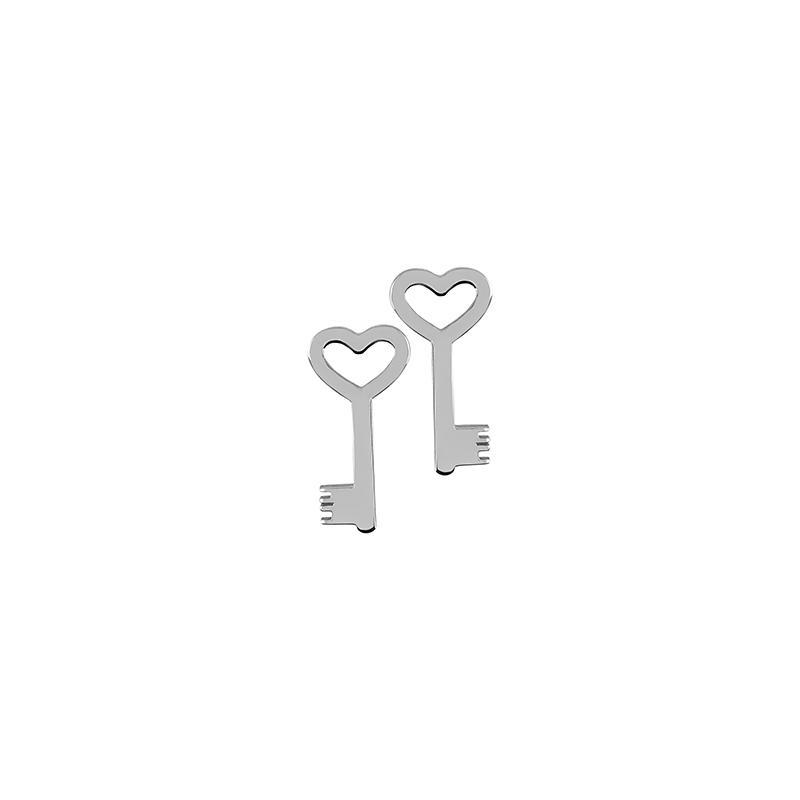 Ohrstecker Schlüssel Silber Rhodiniert