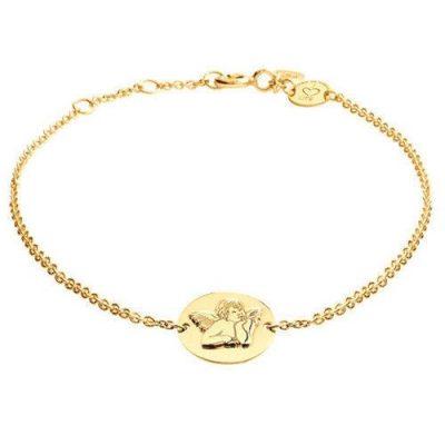Armband Engel Platte Silber Gelbvergoldet