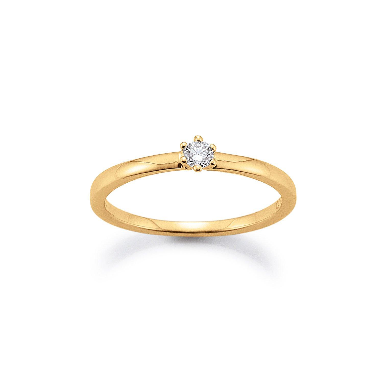 Solitär Ring 585 Gelbgold 0,10ct