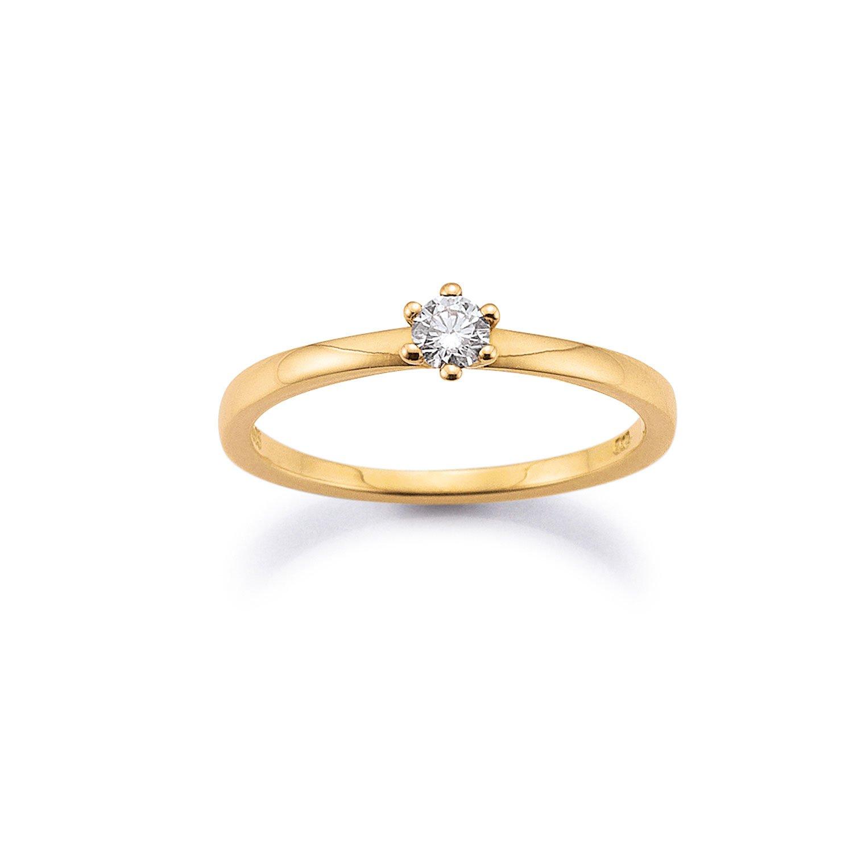 Solitär Ring 585 Gelbgold 0,15ct
