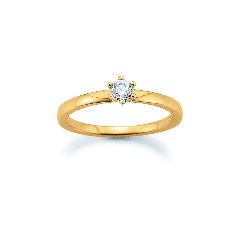 Solitär Ring 585 Gelbgold 0,20ct