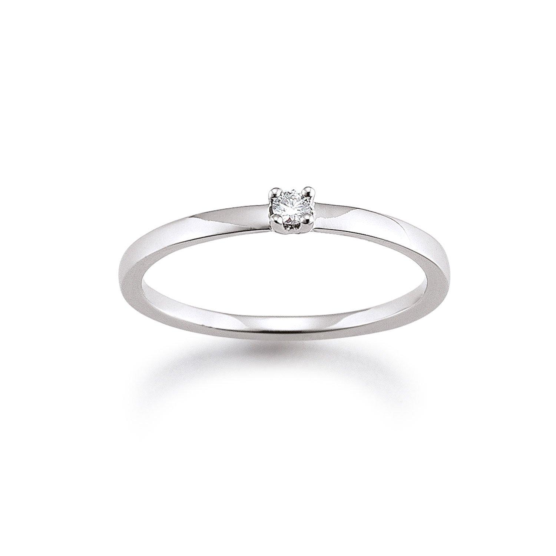 Solitär Ring Weißgold 585 0,05ct