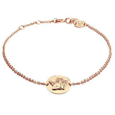Armband Engel Platte Silber Rosévergoldet