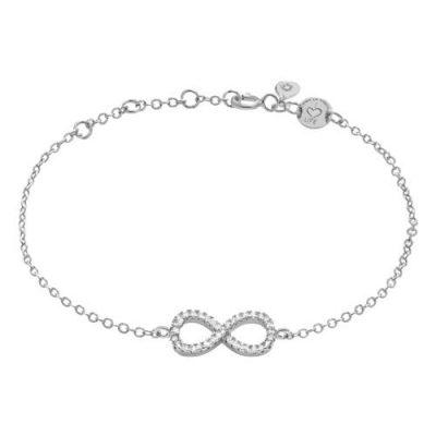 Armband Infinity Zirkonia Silber Rhodiniert