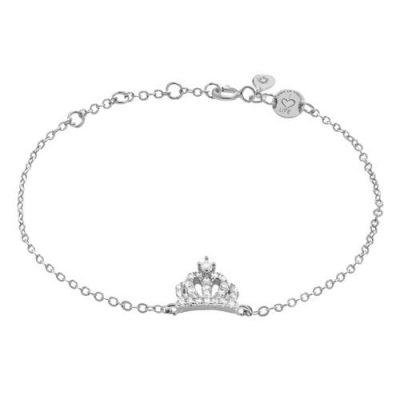Armband Krone Zirkonia Silber Rhodiniert