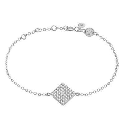 Armband Quadrat Pavé Zirkonia Silber Rhodiniert
