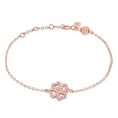 Armband Kleeblatt Zirkonia Silber Rosévergoldet