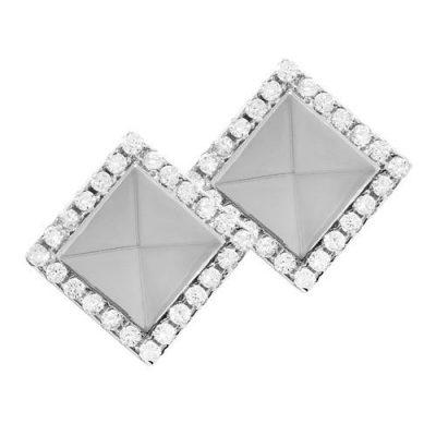 Ohrstecker Quadrat mit Steinrand Zirkonia Silber