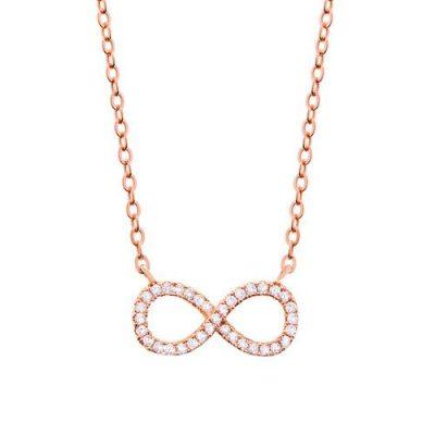 Halskette Infinity Zirkonia Silber Rosévergoldet