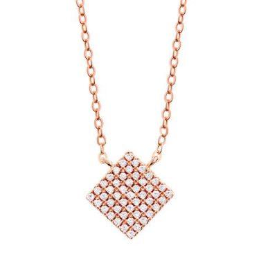 Halskette Quadrat Zirkonia Silber Rosévergoldet