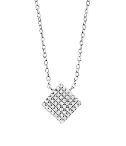 Halskette Quadrat Zirkonia Silber