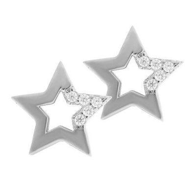 Ohrstecker Stern Zirkonia Silber