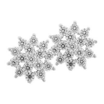 Ohrstecker Blume Zirkonia Silber