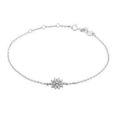 Armband Blume Zirkonia Silber Rhodiniert