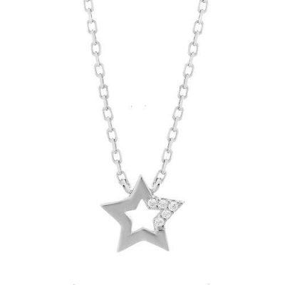 Halskette Stern Zirkonia Silber