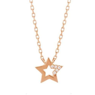 Halskette Stern Zirkonia Silber Rosévergoldet