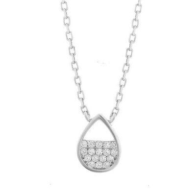 Halskette Tropfen Zirkonia Silber