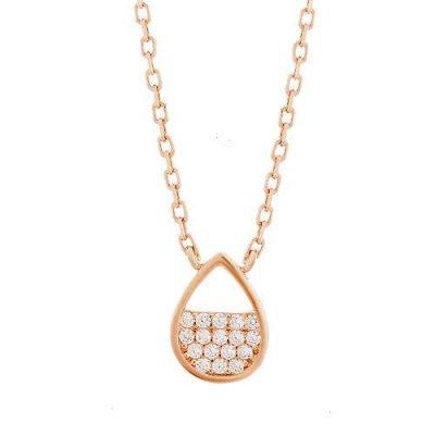 Halskette Tropfen Zirkonia Silber Rosévergoldet