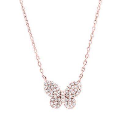 "LaViida - ""Schmetterling"" Halskette Silber rosévergoldet"