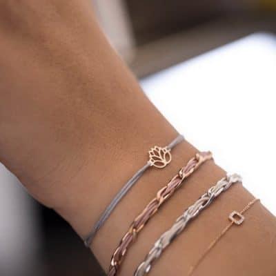 Armband Silber Rhodiniert Textil Beige