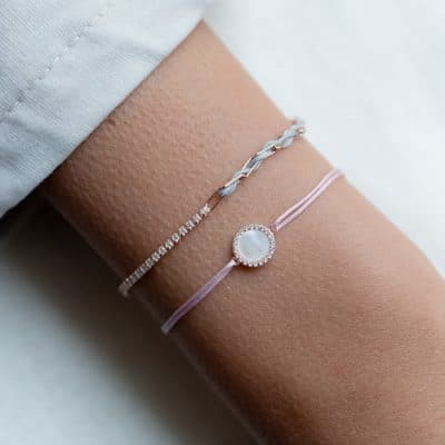 Armband Silber Rose Vergoldet Textil Hellgrau Zirkonia Weiss